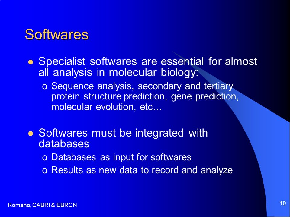 Romano, CABRI & EBRCN 10 Softwares Specialist softwares are essential for almost all analysis in molecular biology: oSequence analysis, secondary and tertiary protein structure prediction, gene prediction, molecular evolution, etc… Softwares must be integrated with databases oDatabases as input for softwares oResults as new data to record and analyze