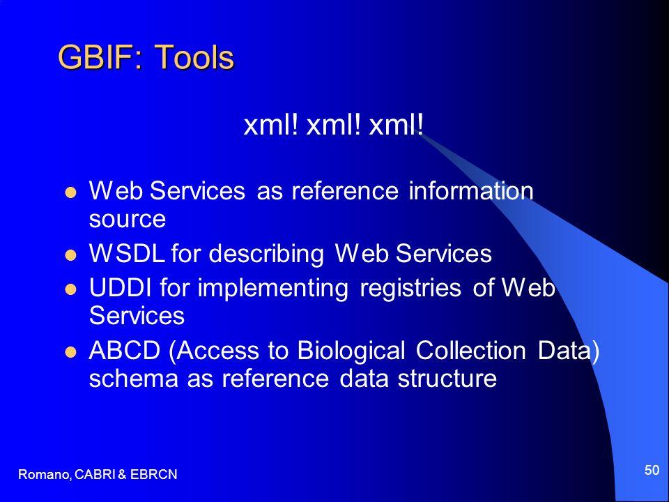 Romano, CABRI & EBRCN 50 GBIF: Tools xml! xml! xml! Web Services as reference information source WSDL for describing Web Services UDDI for implementin