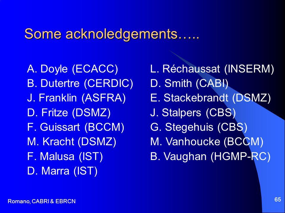 Romano, CABRI & EBRCN 65 Some acknoledgements….. A. Doyle (ECACC) B. Dutertre (CERDIC) J. Franklin (ASFRA) D. Fritze (DSMZ) F. Guissart (BCCM) M. Krac