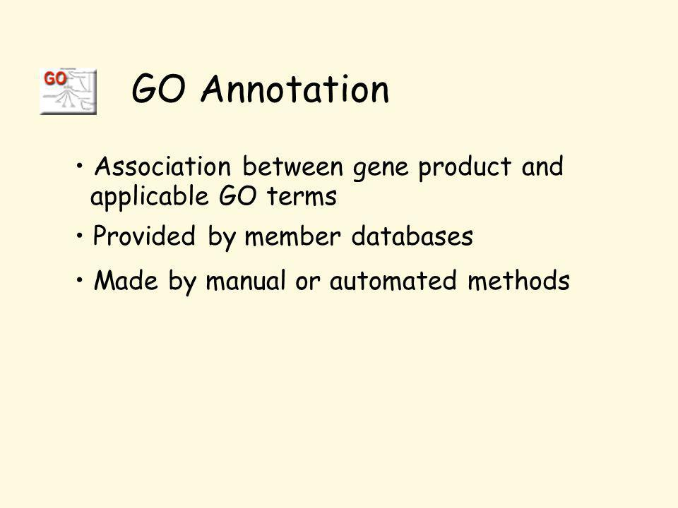 Association between gene product and applicable GO terms Provided by member databases Made by manual or automated methods GO Annotation