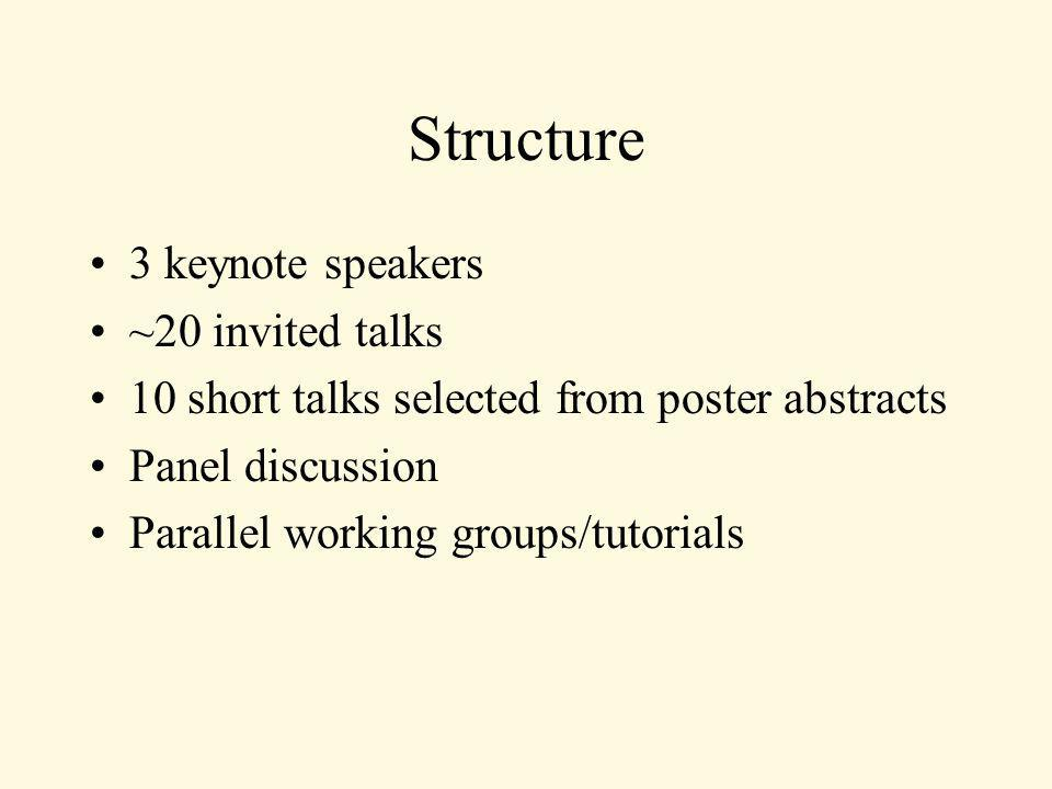 Structure 3 keynote speakers ~20 invited talks 10 short talks selected from poster abstracts Panel discussion Parallel working groups/tutorials