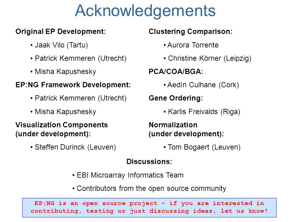 Original EP Development: Jaak Vilo (Tartu) Patrick Kemmeren (Utrecht) Misha Kapushesky EP:NG Framework Development: Patrick Kemmeren (Utrecht) Misha Kapushesky Visualization Components (under development): Steffen Durinck (Leuven) Clustering Comparison: Aurora Torrente Christine Körner (Leipzig) PCA/COA/BGA: Aedín Culhane (Cork) Gene Ordering: Karlis Freivalds (Riga) Normalization (under development): Tom Bogaert (Leuven) Discussions: EBI Microarray Informatics Team Contributors from the open source community EP:NG is an open source project – if you are interested in contributing, testing or just discussing ideas, let us know.