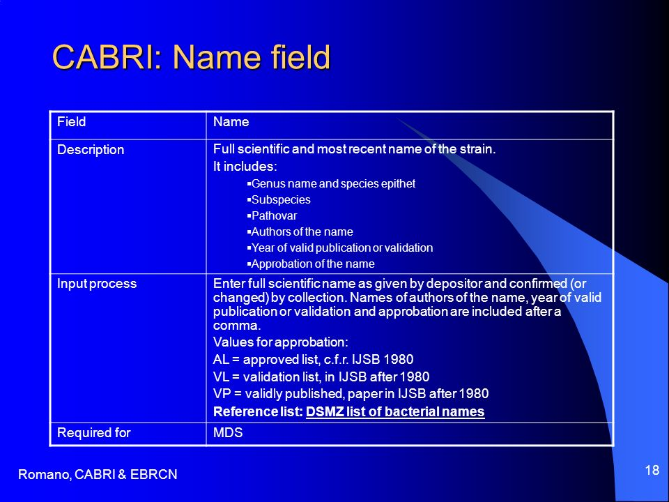 Romano, CABRI & EBRCN 18 CABRI: Name field FieldName DescriptionFull scientific and most recent name of the strain. It includes: Genus name and specie