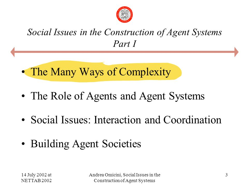 14 July 2002 at NETTAB 2002 Andrea Omicini, Social Issues in the Construction of Agent Systems 3 Social Issues in the Construction of Agent Systems Part I The Many Ways of Complexity The Role of Agents and Agent Systems Social Issues: Interaction and Coordination Building Agent Societies