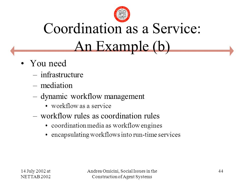 14 July 2002 at NETTAB 2002 Andrea Omicini, Social Issues in the Construction of Agent Systems 44 Coordination as a Service: An Example (b) You need –infrastructure –mediation –dynamic workflow management workflow as a service –workflow rules as coordination rules coordination media as workflow engines encapsulating workflows into run-time services