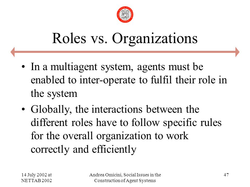 14 July 2002 at NETTAB 2002 Andrea Omicini, Social Issues in the Construction of Agent Systems 47 Roles vs.