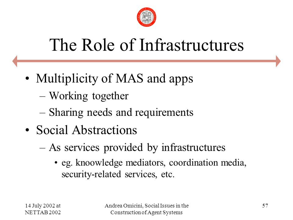 14 July 2002 at NETTAB 2002 Andrea Omicini, Social Issues in the Construction of Agent Systems 57 The Role of Infrastructures Multiplicity of MAS and apps –Working together –Sharing needs and requirements Social Abstractions –As services provided by infrastructures eg.