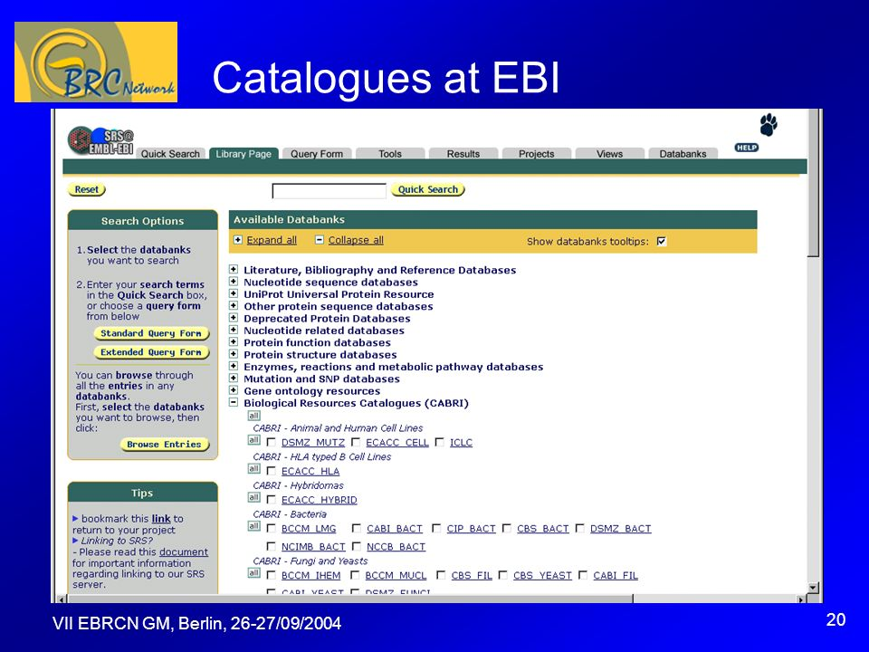 VII EBRCN GM, Berlin, 26-27/09/2004 20 Catalogues at EBI