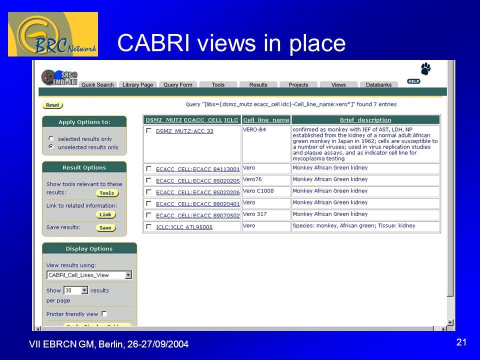 VII EBRCN GM, Berlin, 26-27/09/2004 21 CABRI views in place