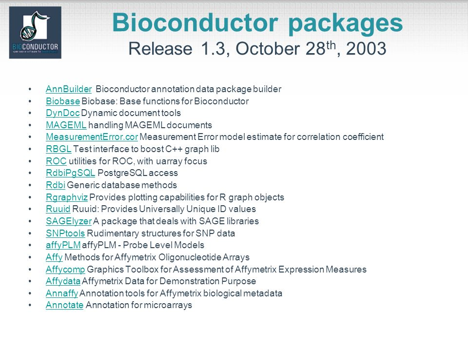 Bioconductor packages Release 1.3, October 28 th, 2003 AnnBuilder Bioconductor annotation data package builderAnnBuilder Biobase Biobase: Base functions for BioconductorBiobase DynDoc Dynamic document toolsDynDoc MAGEML handling MAGEML documentsMAGEML MeasurementError.cor Measurement Error model estimate for correlation coefficientMeasurementError.cor RBGL Test interface to boost C++ graph libRBGL ROC utilities for ROC, with uarray focusROC RdbiPgSQL PostgreSQL accessRdbiPgSQL Rdbi Generic database methodsRdbi Rgraphviz Provides plotting capabilities for R graph objectsRgraphviz Ruuid Ruuid: Provides Universally Unique ID valuesRuuid SAGElyzer A package that deals with SAGE librariesSAGElyzer SNPtools Rudimentary structures for SNP dataSNPtools affyPLM affyPLM - Probe Level ModelsaffyPLM Affy Methods for Affymetrix Oligonucleotide ArraysAffy Affycomp Graphics Toolbox for Assessment of Affymetrix Expression MeasuresAffycomp Affydata Affymetrix Data for Demonstration PurposeAffydata Annaffy Annotation tools for Affymetrix biological metadataAnnaffy Annotate Annotation for microarraysAnnotate
