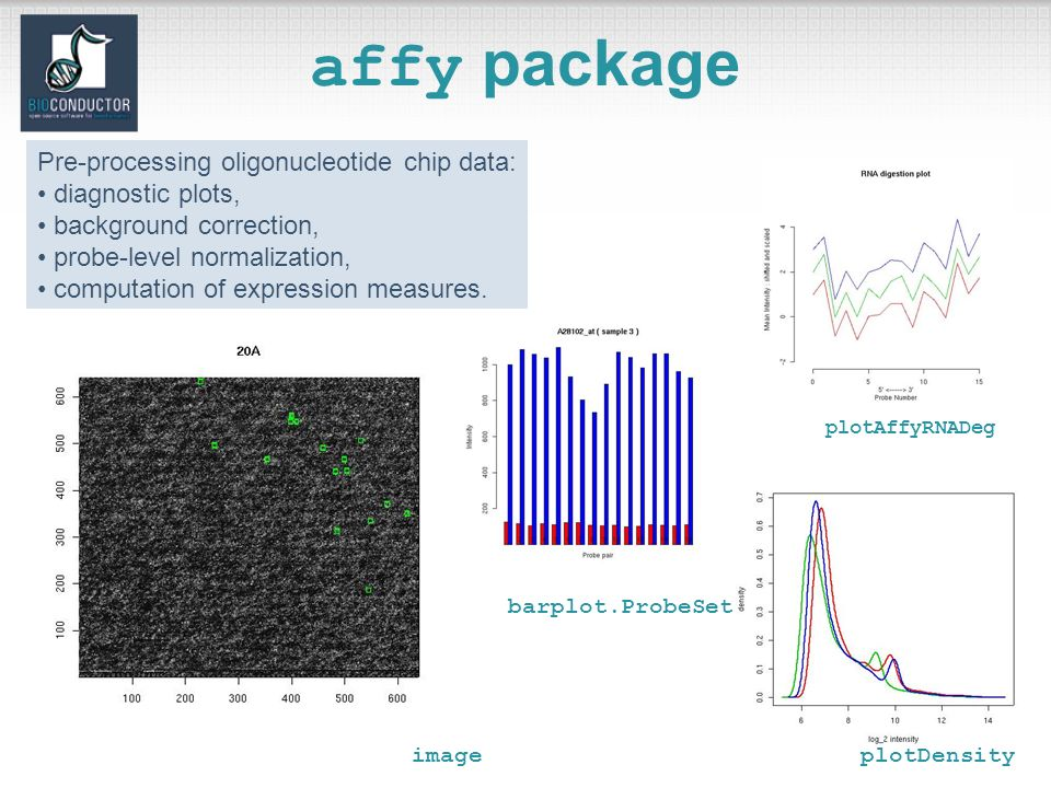 affy package Pre-processing oligonucleotide chip data: diagnostic plots, background correction, probe-level normalization, computation of expression measures.