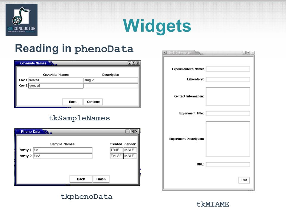 Widgets tkMIAME tkphenoData tkSampleNames Reading in phenoData