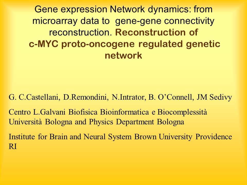 Gene expression Network dynamics: from microarray data to gene-gene connectivity reconstruction.