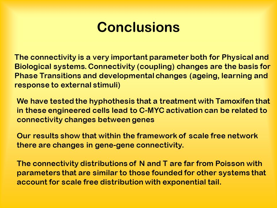Conclusions We have tested the hyphothesis that a treatment with Tamoxifen that in these engineered cells lead to C-MYC activation can be related to connectivity changes between genes The connectivity is a very important parameter both for Physical and Biological systems.