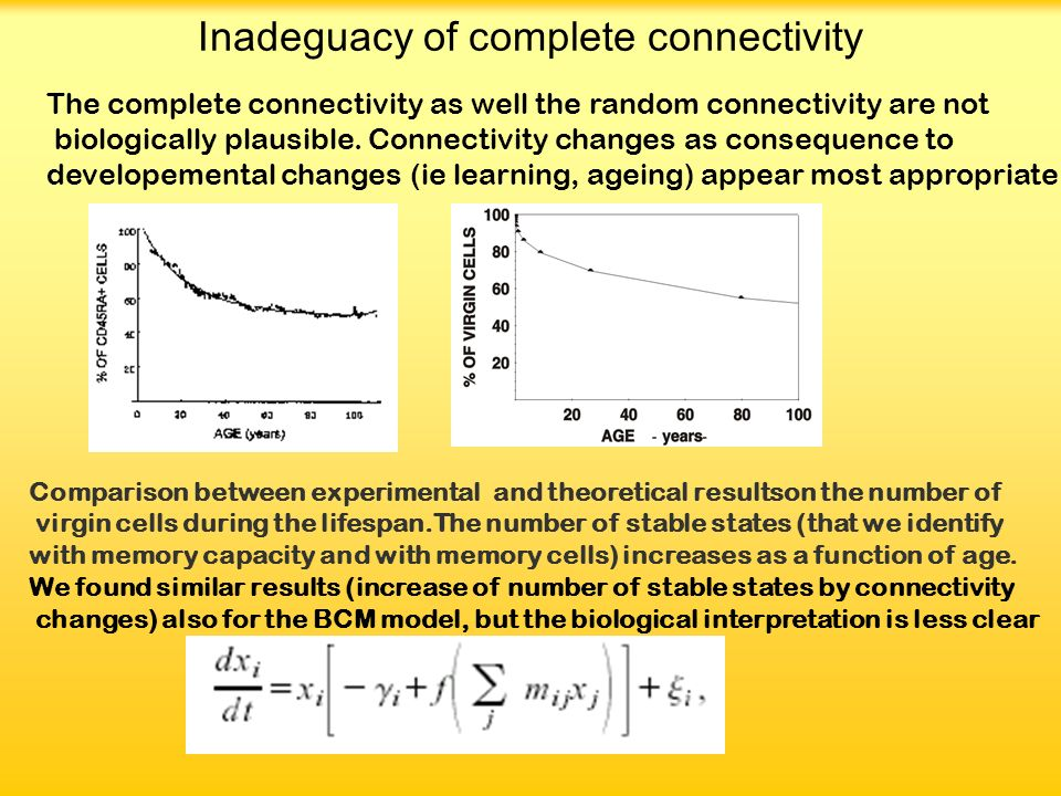 Inadeguacy of complete connectivity The complete connectivity as well the random connectivity are not biologically plausible.