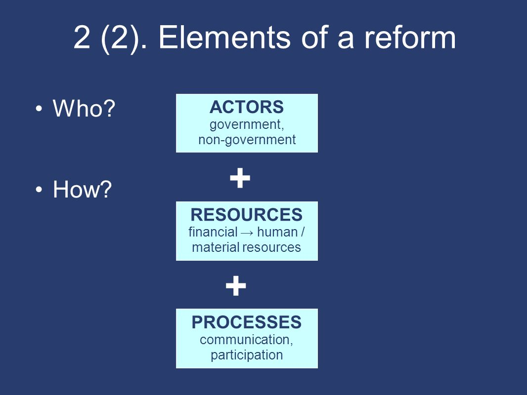 2 (2). Elements of a reform Who? How? ACTORS government, non-government RESOURCES financial human / material resources PROCESSES communication, partic