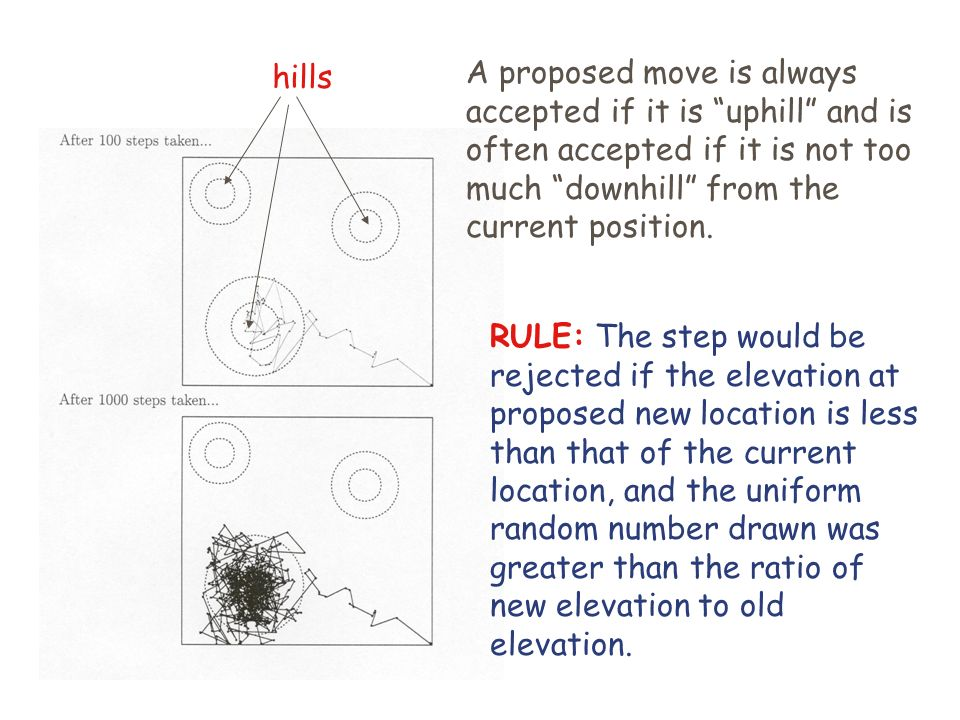 RULE: The step would be rejected if the elevation at proposed new location is less than that of the current location, and the uniform random number drawn was greater than the ratio of new elevation to old elevation.