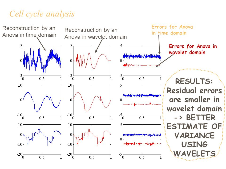Cell cycle analysis Errors for Anova in time domain Errors for Anova in wavelet domain Reconstruction by an Anova in time domain Reconstruction by an