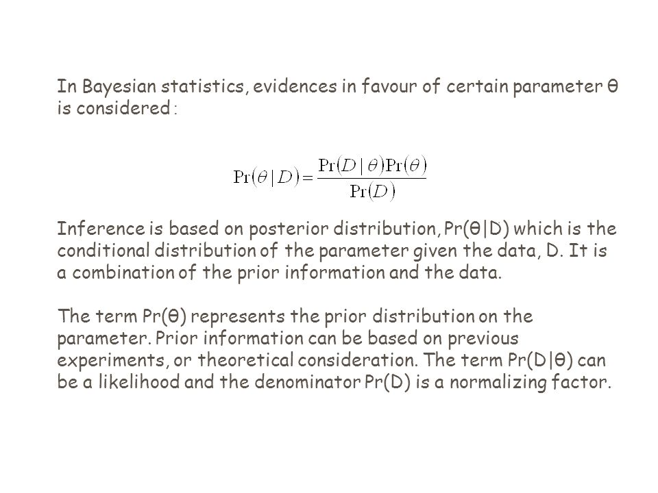In Bayesian statistics, evidences in favour of certain parameter θ is considered : Inference is based on posterior distribution, Pr(θ|D) which is the