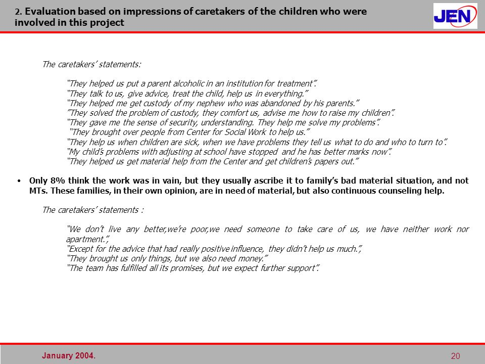 January 2004. 20 2. Evaluation based on impressions of caretakers of the children who were involved in this project The caretakers statements: They he