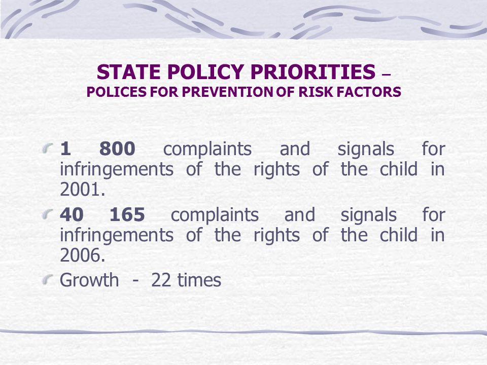 1 800 complaints and signals for infringements of the rights of the child in 2001. 40 165 complaints and signals for infringements of the rights of th