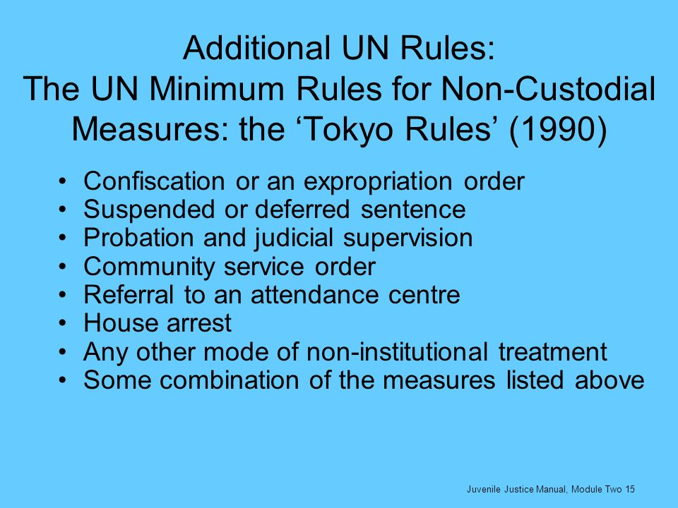 Additional UN Rules: The UN Minimum Rules for Non-Custodial Measures: the Tokyo Rules (1990) Confiscation or an expropriation order Suspended or defer