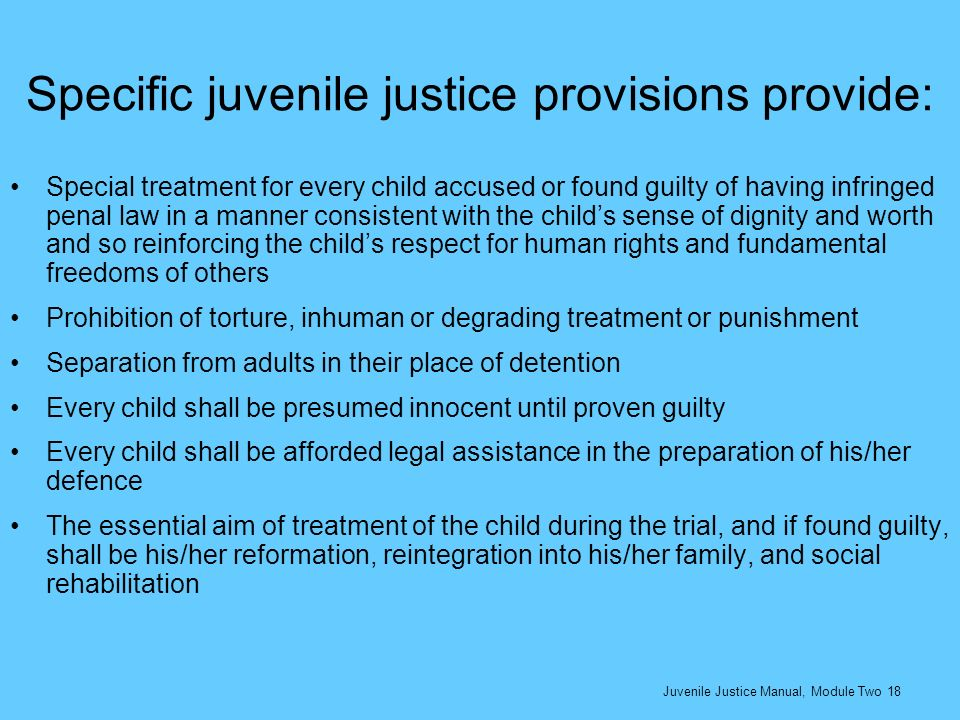 Specific juvenile justice provisions provide: Special treatment for every child accused or found guilty of having infringed penal law in a manner cons