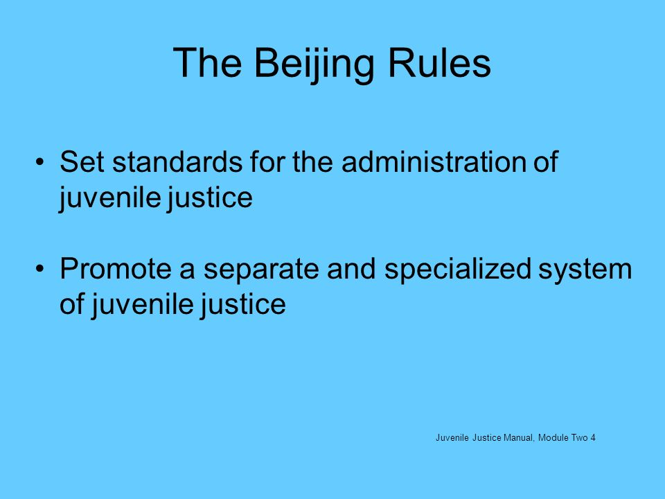 Additional UN Rules: The UN Minimum Rules for Non-Custodial Measures: the Tokyo Rules (1990) Confiscation or an expropriation order Suspended or deferred sentence Probation and judicial supervision Community service order Referral to an attendance centre House arrest Any other mode of non-institutional treatment Some combination of the measures listed above Juvenile Justice Manual, Module Two 15