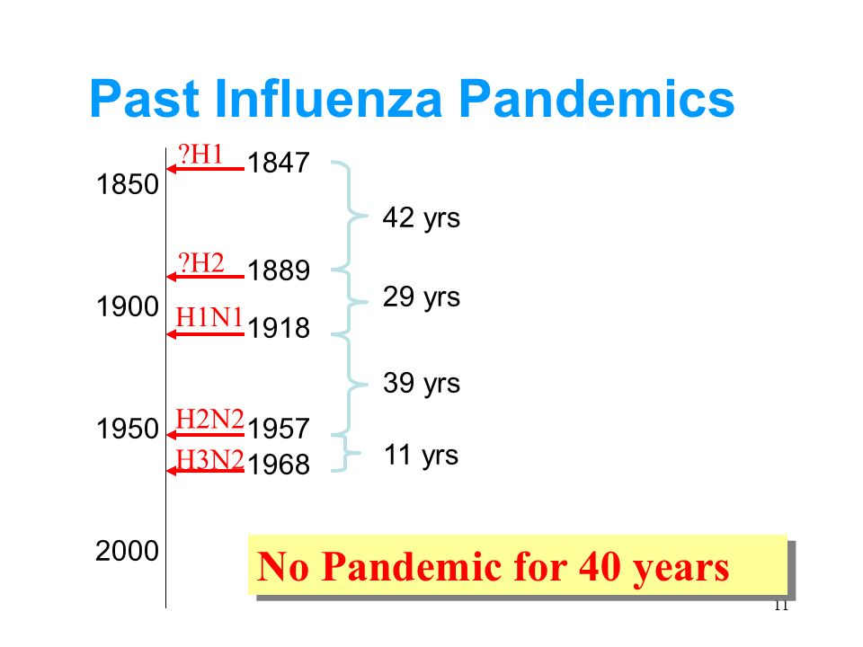 yrs 29 yrs 39 yrs 11 yrs No Pandemic for 40 years Past Influenza Pandemics H1N1 H2N2 H3N2 H2 H1