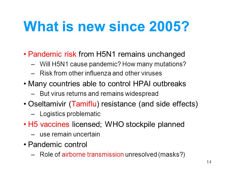 14 What is new since 2005? Pandemic risk from H5N1 remains unchanged –Will H5N1 cause pandemic? How many mutations? –Risk from other influenza and oth