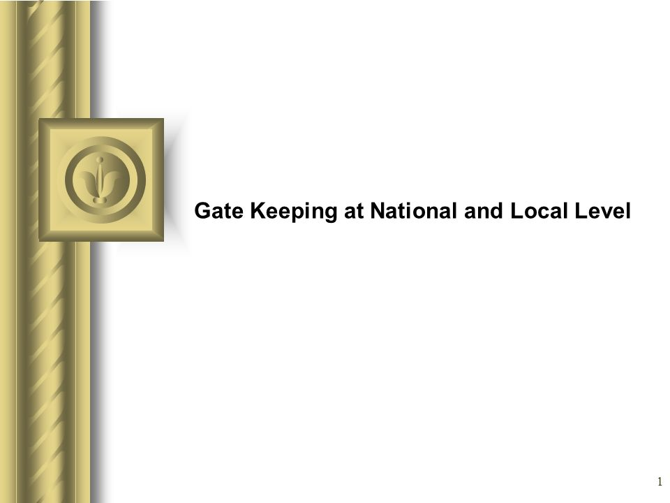 1 Gate Keeping at National and Local Level This presentation will probably involve audience discussion, which will create action items.