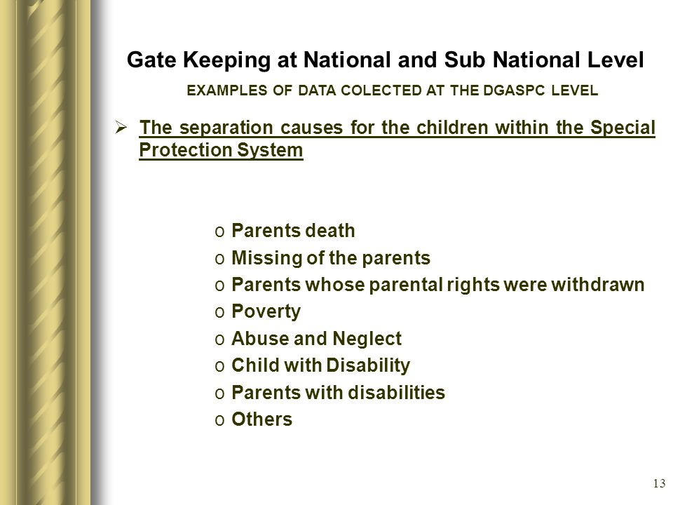 13 Gate Keeping at National and Sub National Level The separation causes for the children within the Special Protection System oParents death oMissing of the parents oParents whose parental rights were withdrawn oPoverty oAbuse and Neglect oChild with Disability oParents with disabilities oOthers EXAMPLES OF DATA COLECTED AT THE DGASPC LEVEL