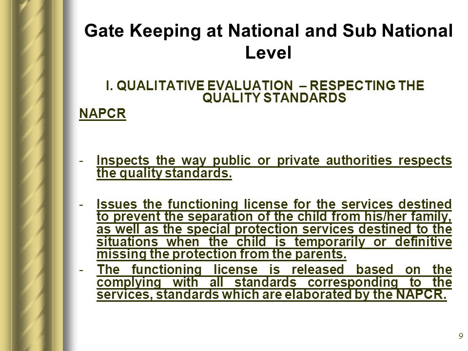 9 Gate Keeping at National and Sub National Level I.