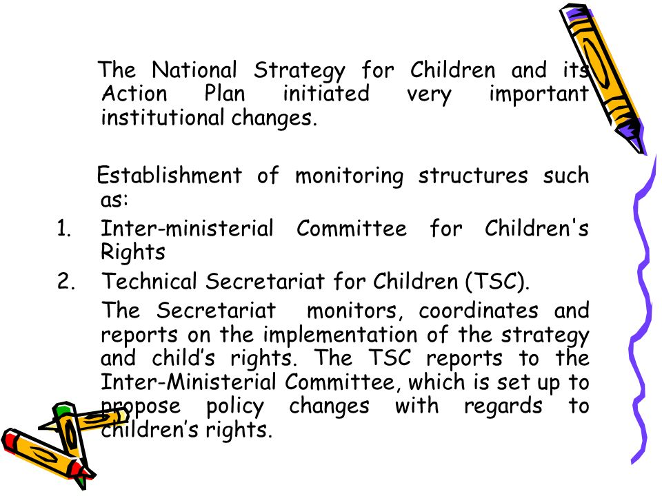 The National Strategy for Children and its Action Plan initiated very important institutional changes. Establishment of monitoring structures such as: