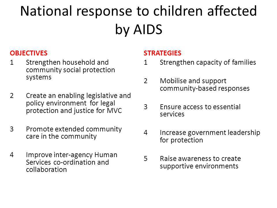 National response to children affected by AIDS OBJECTIVES 1Strengthen household and community social protection systems 2Create an enabling legislative and policy environment for legal protection and justice for MVC 3Promote extended community care in the community 4Improve inter-agency Human Services co-ordination and collaboration STRATEGIES 1Strengthen capacity of families 2Mobilise and support community-based responses 3Ensure access to essential services 4Increase government leadership for protection 5Raise awareness to create supportive environments