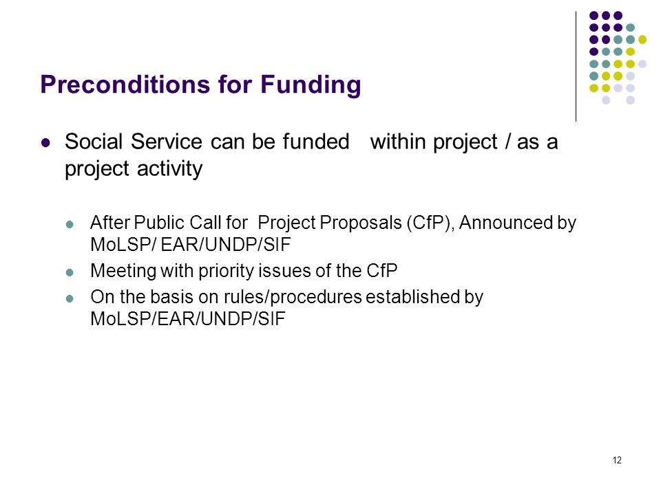 12 Preconditions for Funding Social Service can be funded within project / as a project activity After Public Call for Project Proposals (CfP), Announced by MoLSP/ EAR/UNDP/SIF Meeting with priority issues of the CfP On the basis on rules/procedures established by MoLSP/EAR/UNDP/SIF
