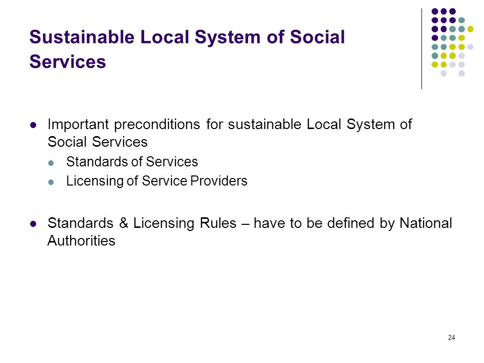 24 Sustainable Local System of Social Services Important preconditions for sustainable Local System of Social Services Standards of Services Licensing of Service Providers Standards & Licensing Rules – have to be defined by National Authorities