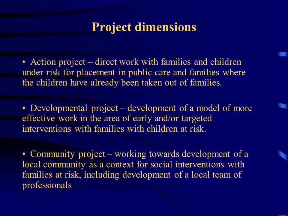 Project dimensions Action project – direct work with families and children under risk for placement in public care and families where the children hav