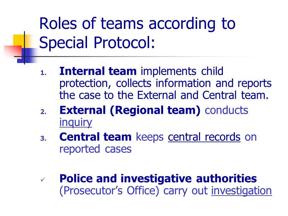 Roles of teams according to Special Protocol: 1.