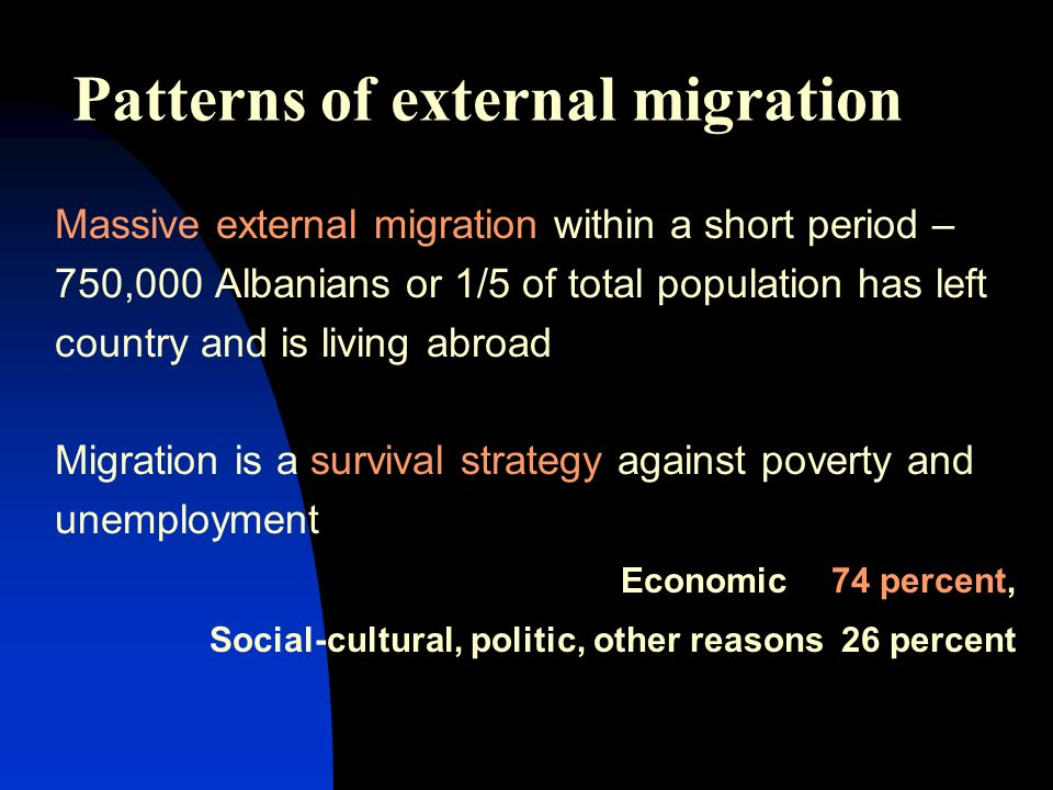 Patterns of external migration Massive external migration within a short period – 750,000 Albanians or 1/5 of total population has left country and is living abroad Migration is a survival strategy against poverty and unemployment Economic 74 percent, Social-cultural, politic, other reasons 26 percent