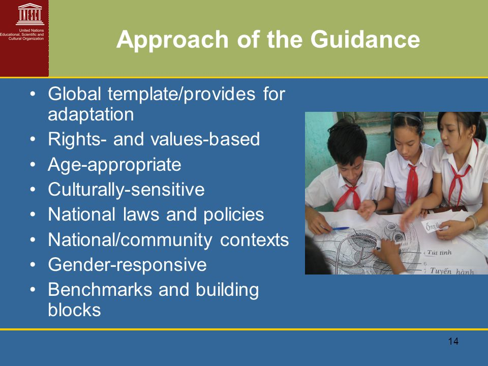 14 Approach of the Guidance Global template/provides for adaptation Rights- and values-based Age-appropriate Culturally-sensitive National laws and policies National/community contexts Gender-responsive Benchmarks and building blocks