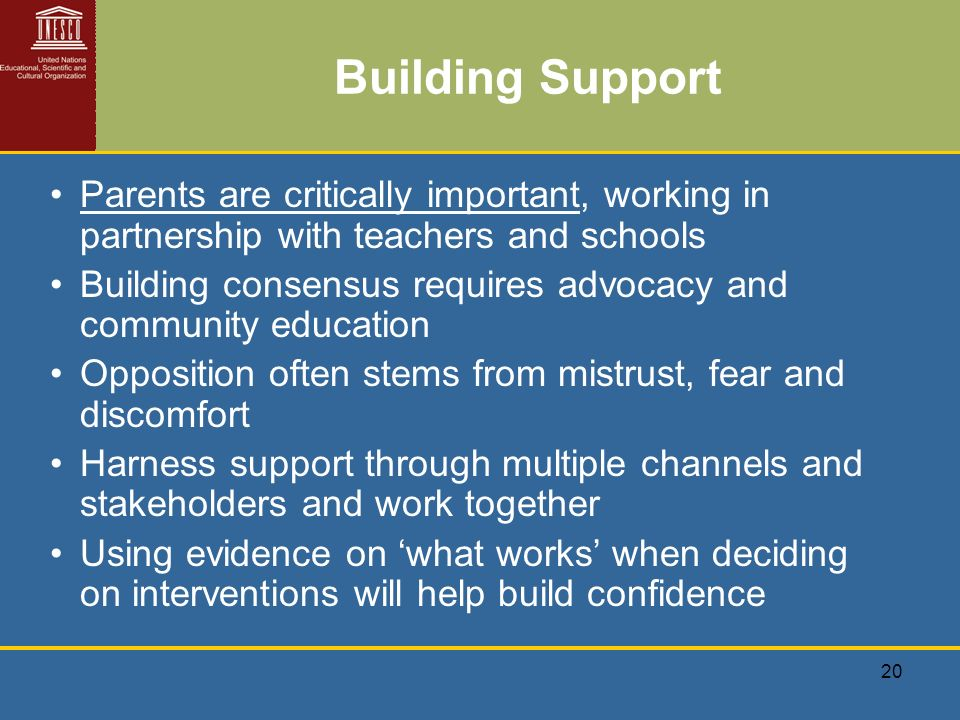 20 Building Support Parents are critically important, working in partnership with teachers and schools Building consensus requires advocacy and community education Opposition often stems from mistrust, fear and discomfort Harness support through multiple channels and stakeholders and work together Using evidence on what works when deciding on interventions will help build confidence