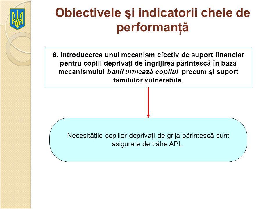 Obiectivele şi indicatorii cheie de performanţă 8. Introducerea unui mecanism efectiv de suport financiar pentru copiii deprivaţi de îngrijirea părint