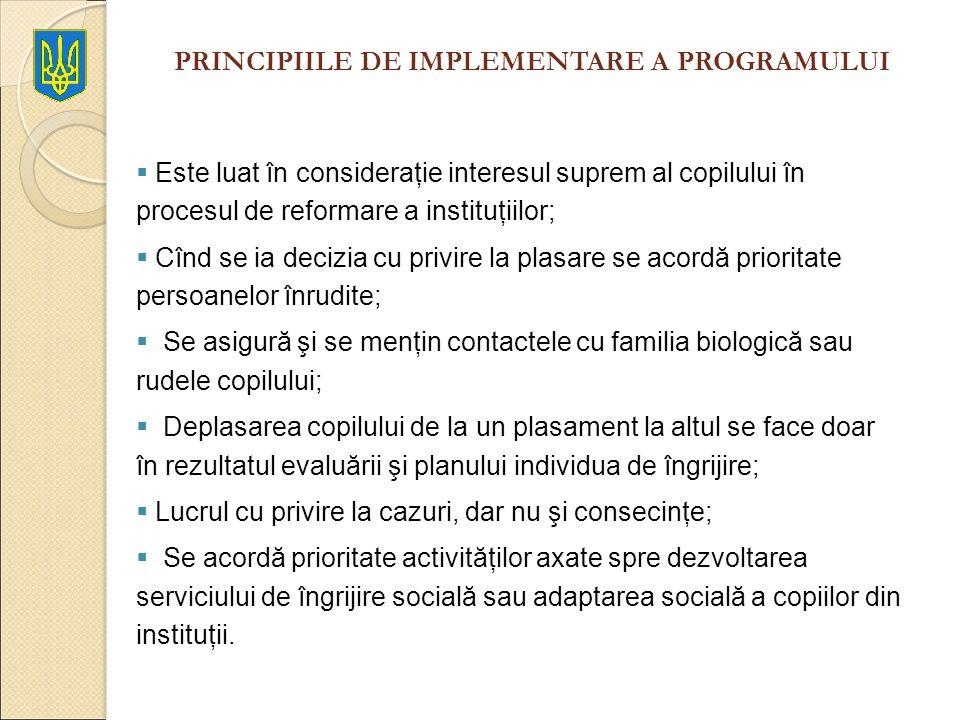 PRINCIPIILE DE IMPLEMENTARE A PROGRAMULUI Este luat în consideraţie interesul suprem al copilului în procesul de reformare a instituţiilor; Cînd se ia