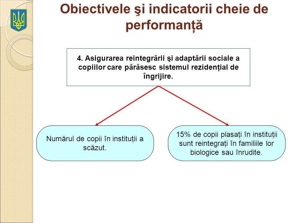 Obiectivele şi indicatorii cheie de performanţă 4. Asigurarea reintegrării şi adaptării sociale a copiilor care părăsesc sistemul rezidenţial de îngri