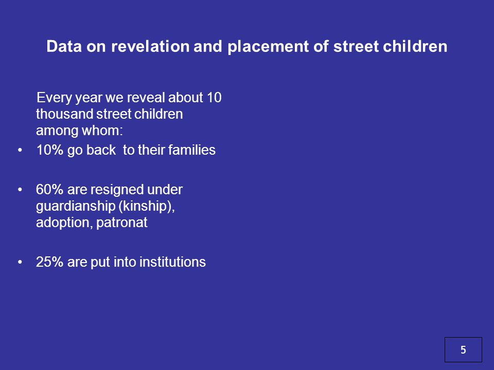 Data on revelation and placement of street children Every year we reveal about 10 thousand street children among whom: 10% go back to their families 60% are resigned under guardianship (kinship), adoption, patronat 25% are put into institutions 5