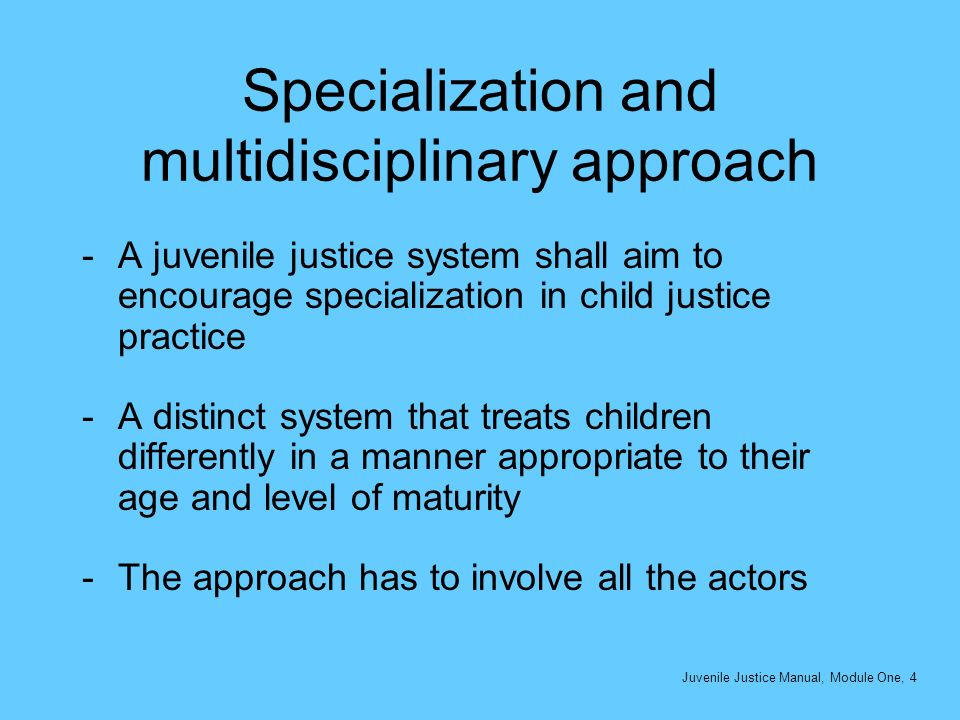 Specialization and multidisciplinary approach -A juvenile justice system shall aim to encourage specialization in child justice practice -A distinct s