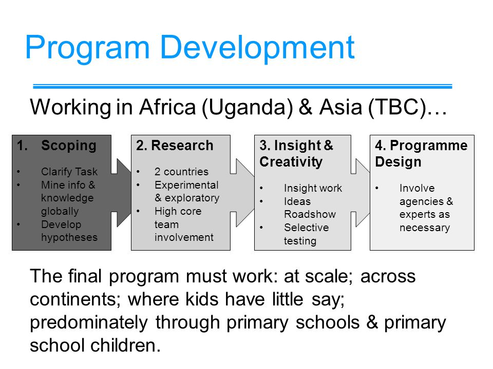 Program Development Working in Africa (Uganda) & Asia (TBC)… 1.Scoping Clarify Task Mine info & knowledge globally Develop hypotheses The final program must work: at scale; across continents; where kids have little say; predominately through primary schools & primary school children.