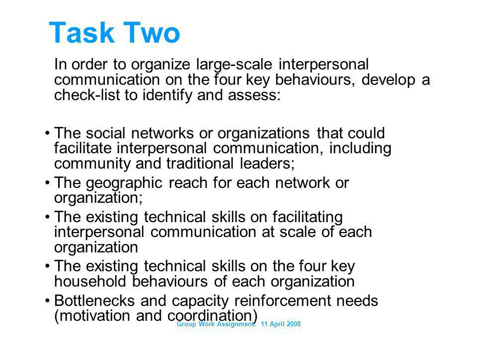 Group Work Assignment: 11 April 2008 Task Two In order to organize large-scale interpersonal communication on the four key behaviours, develop a check