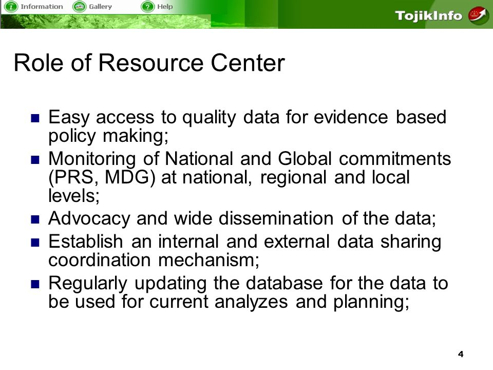 5 Current status National databases MICS Tajikistan 2000-2005 (all indicators Eng-Rus-Taj) TLSMS 2007 (Eng-Rus) Gender Info (48 indicators Eng-Rus) Tajikistan Development Database (48 Eng-Rus) Covering 4 Geographical level Data from 1995 to 2008 Primary data sources, National & Global reports
